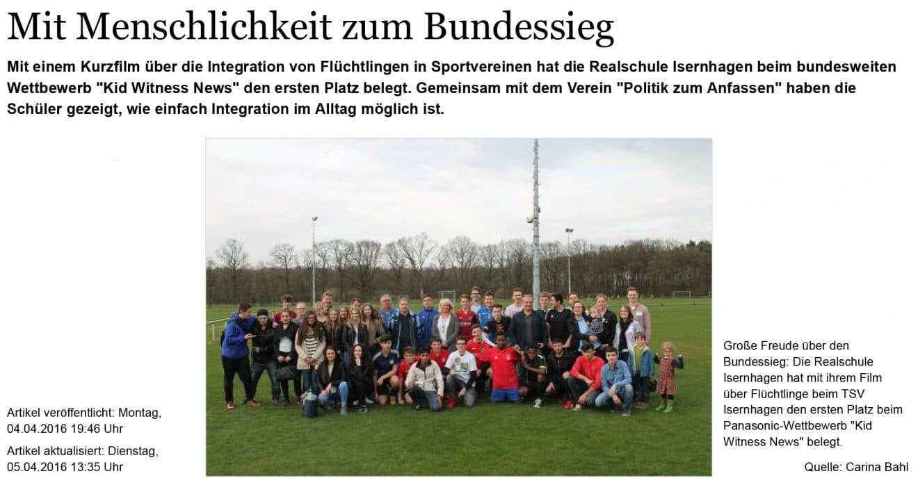 Realschule Isernhagen siegt mit Kurzfilm bei bundesweitem Wettbe